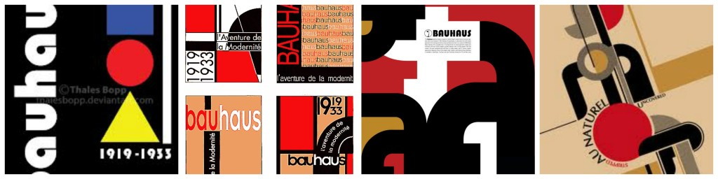 Bauhaus movement posters, black red and white, art deco, streamlined moderne