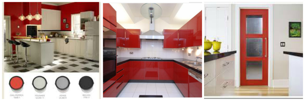 Bauhaus inspired interiors of the 80's. Red black and White