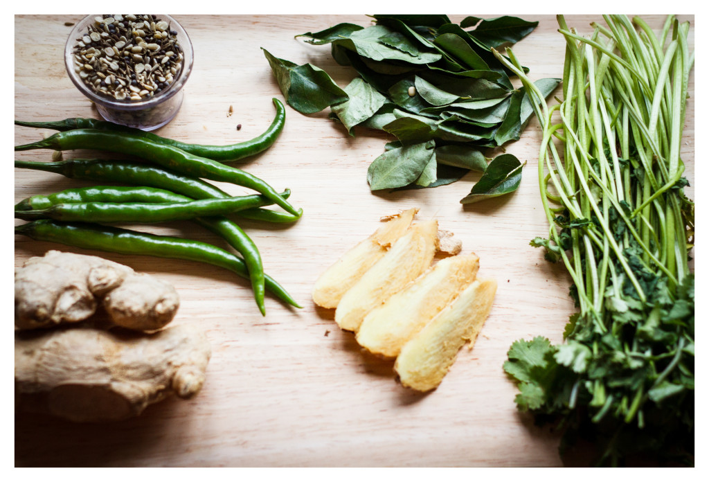 The basics of Indian cooking, if you have this, you're good to go! ginger, garlic, curry leaves, coriander, chillis, cumin