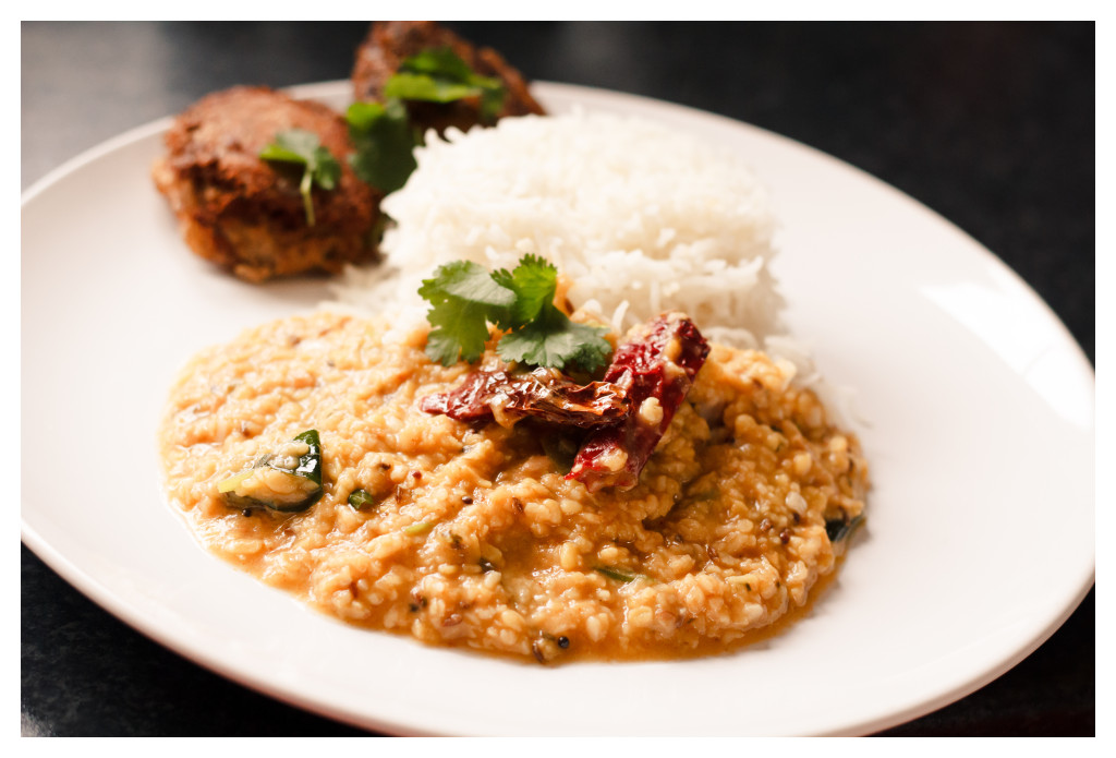 Tadka Dal, Basmati Rice, Mughlai Shammi Kebab, coriander, indian, curry