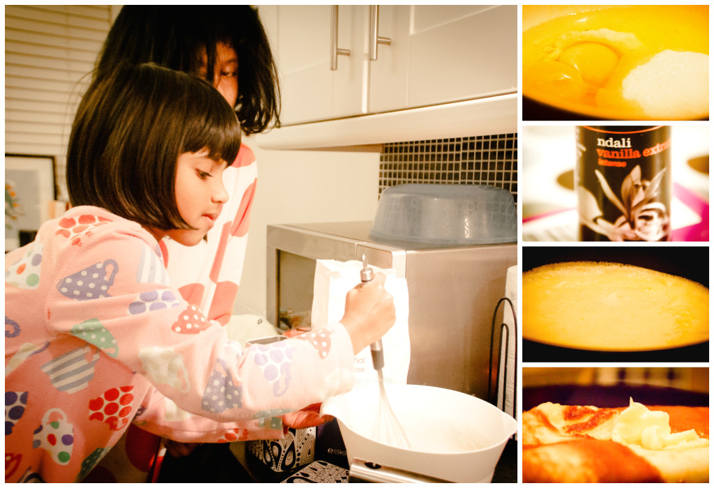 Pancake making, children, mini boden nighties, eggs, vanilla, sugar, sweet, dessert, comfort