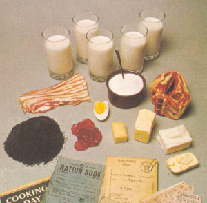 Wartime Rations, eggs, milk, bacon, margarine, lard, butter, egg, meat, milk