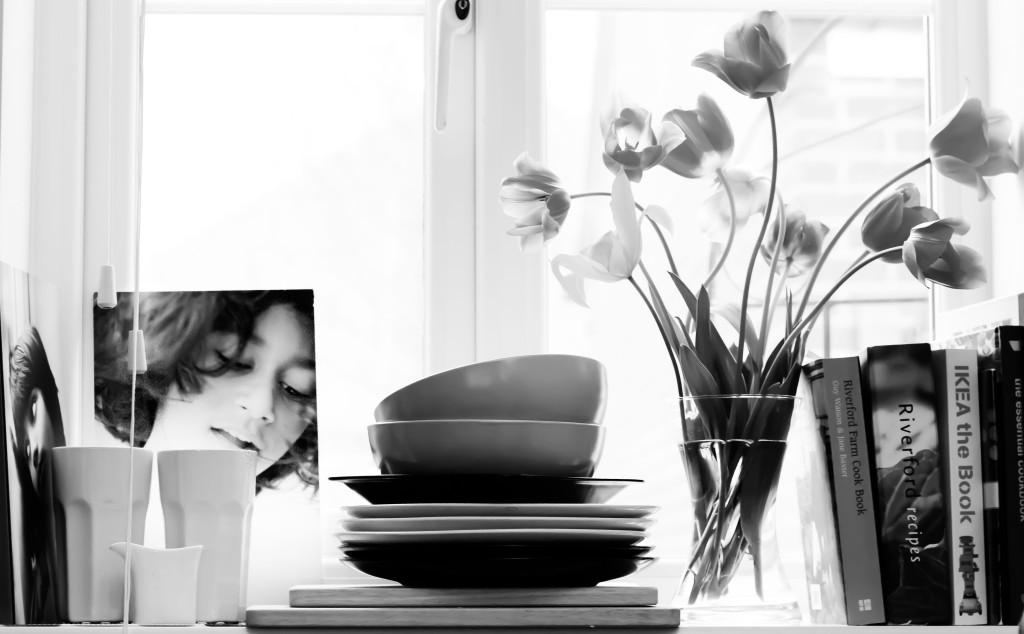 Monochrome, minimilist, personalspace, flowers, uncluttered, scandinavian chic