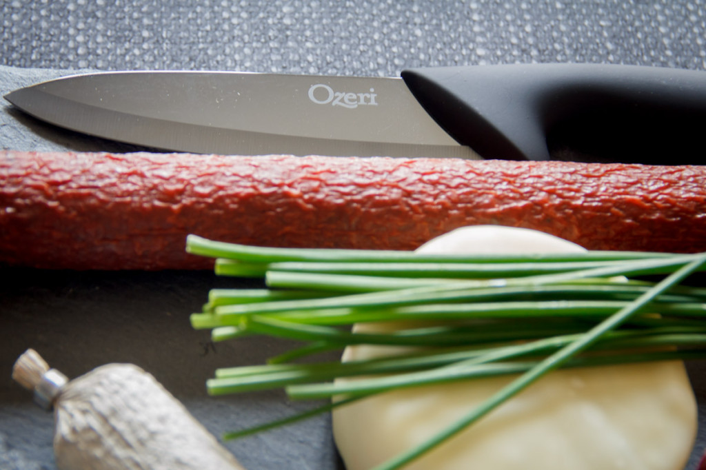 Ozeri Elite Chef Black Ceramic Knife, Northern Europe, German nd Austrian Salami
